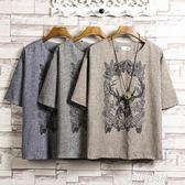 夏季男士亞麻短袖T恤中國風印花寬鬆圓領大碼男裝棉麻料上衣服薄  JSY時尚屋
