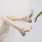 女鞋2021夏季新款時尚百搭中跟粗跟仙女風晚晚高跟搭配裙子涼鞋女 快速出貨