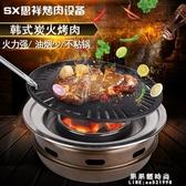 韓式碳烤爐韓版燒烤爐炭火烤肉爐家用烤盤商用圓形烤肉機煎肉鍋【果果新品】