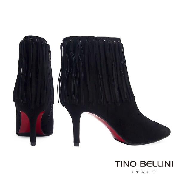 Tino Bellini性感復刻風情流蘇高跟短靴(黑)_VI1229  2015AW