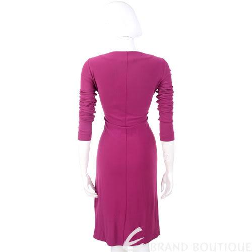 ALBERTA FERRETTI 桃紫色皺褶長袖V領洋裝 0930195-87