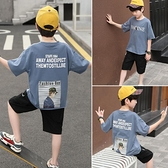 夏裝新款童裝男童套裝洋氣兒童兩件套中大童韓版帥氣短袖潮 快速出貨