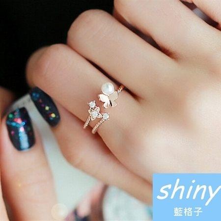 【DJJ2508】shiny藍格子-時尚蝴蝶珍珠開口戒指