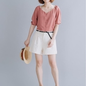 大碼女裝 顯瘦套裝 文藝大碼短袖襯衫 純色短褲洋氣顯瘦兩件套