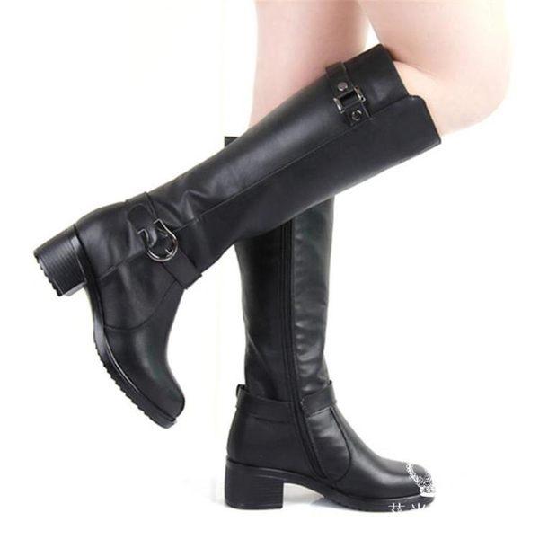 長靴 粗跟真皮馬靴女長筒靴 艾米潮品館