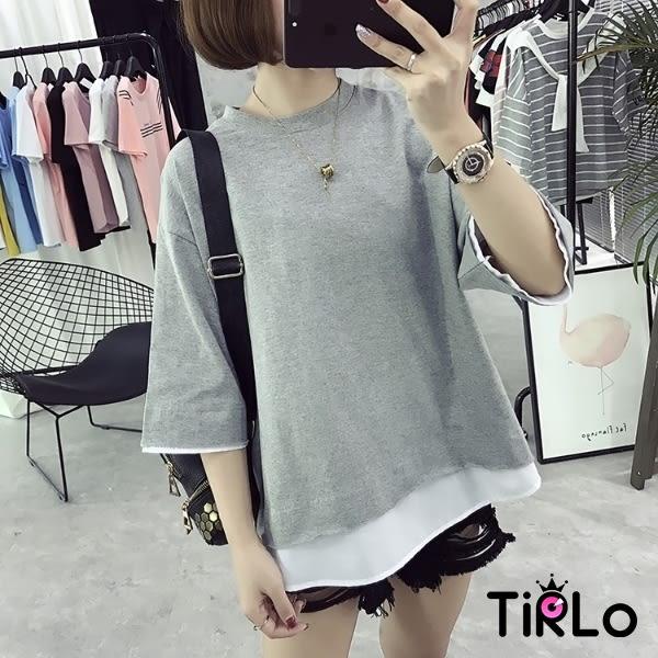 T袖 -Tirlo-推薦!假兩件設計寬鬆圓領五分袖T-兩色(現+追加預計5-7工作天出貨)