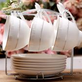 陶瓷咖啡杯歐式套家用辦公酒店創意簡約時尚6只咖啡杯碟帶勺子吾本良品