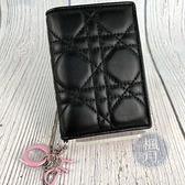 BRAND楓月 CHRISTIAN DIOR 迪奧 近全新 黑色 CANNAGE 藤格紋 內粉色 二折 短夾 零錢包