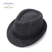 小禮帽男士英倫爵士帽女春秋季毛呢帽老人帽子 免運