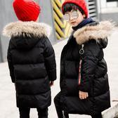 男童羽絨服 2019新款男童羽絨服大毛領男孩兒童羽絨服中大童中長款反季 快樂母嬰