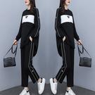 運動套裝女L-5XL休閑運動寬松遮肚套裝顯瘦減齡時尚兩件套F5025韓衣裳
