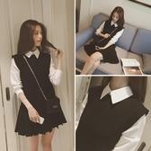 洋裝 2020秋冬新品學院風格子假兩件少女顯瘦可愛學生連衣裙打底裙