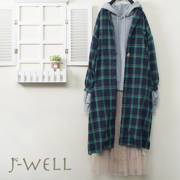 J-WELL 純棉素面連帽T格子長版外套釘珠雙層網紗裙三件組(組合A626 9J1025綠+9J1118灰+9J1038米)