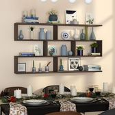 墻上置物架壁掛實木隔板定制壁櫃墻上儲物櫃餐廳創意酒架書架墻上 igo卡洛琳