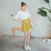 MUMU【P09256】女孩感碎花百褶短褲裙。三色
