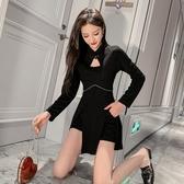 女神網紅穿搭新款時髦女神范洋氣高腰兩件套裝改良旗袍式復古連衣裙T121C.愛尚布衣