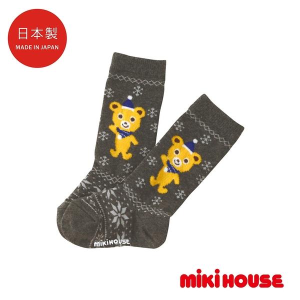 MIKI HOUSE 日本製 可愛普奇熊遠紅外線保暖中筒襪