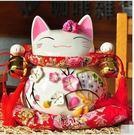 超人氣日本道樂堂富貴花季招財貓 儲蓄罐陶瓷結婚擺件 大號開業禮品送朋友居家收藏