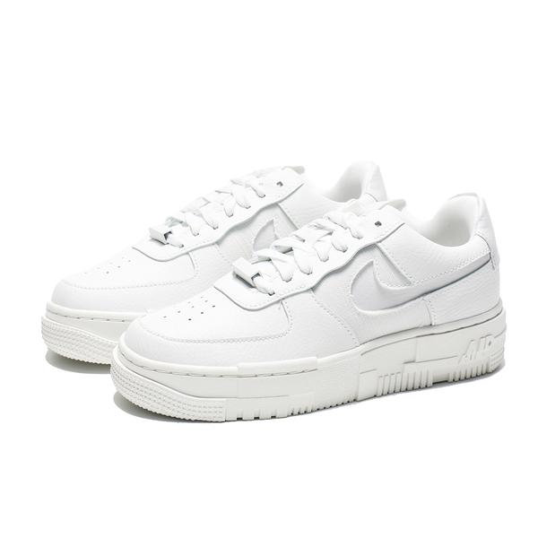 NIKE 休閒鞋 AIR FORCE 1 PIXEL 全白 皮革 解構 厚底 女 (布魯克林) CK6649-102
