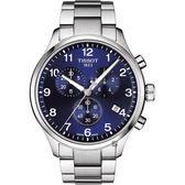 TISSOT天梭 韻馳系列 Chrono XL計時手錶-藍x銀/45mm T1166171104701
