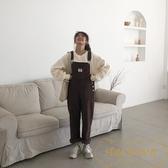 韓版復古燈芯絨背帶褲直筒顯瘦休閒長褲女潮【繁星小鎮】