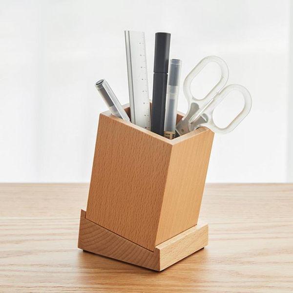 木質筆筒創意時尚 簡約多功能實木文具用品桌面辦公 筆筒收納盒   初見居家