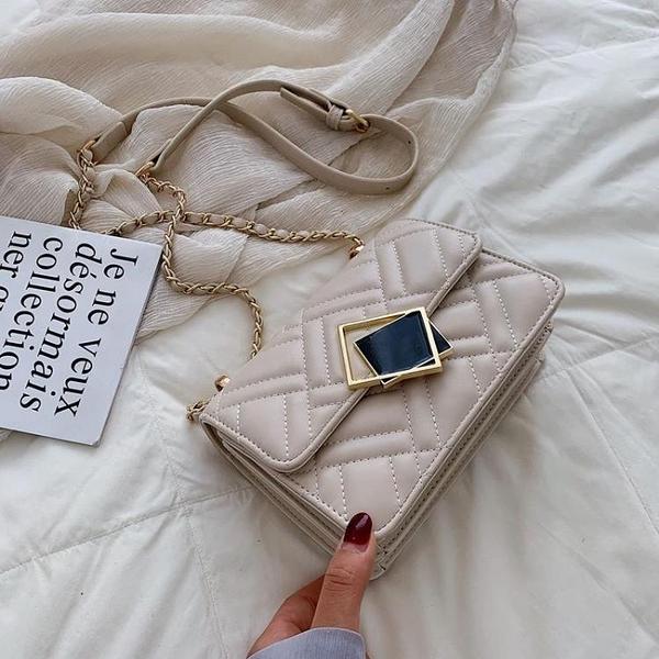 包包女新款潮韓版洋氣繡線菱格鏈條小方包時尚百搭單肩斜挎包