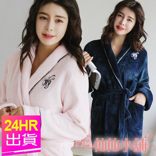 保暖睡衣 粉/深藍 氣質素面保暖法蘭絨綁帶睡袍 日系居家連身睡衣 仙仙小舖