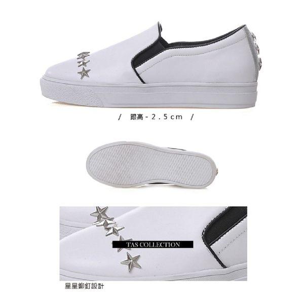 ★2018春夏新品★TAS 星星鉚釘厚底休閒懶人鞋-休閒白
