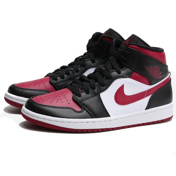AIR JORDAN 1 MID BRED TOE 黑白紅 8孔 中筒 AJ1 1代 籃球鞋 男 (布魯克林) 554724-066