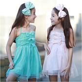 露背綁帶洋裝 蕾絲 女童 連身裙 洋裙 吊帶裙 連衣裙 Augelute 42153