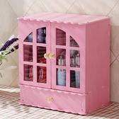 防塵化妝品收納盒簡約化妝品收納盒家用大號公主木式收納櫃置物架桌面防塵收納 台北日光 NMS