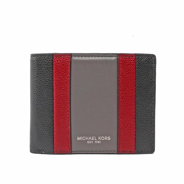 【MICHAEL KORS】防刮皮革拼色對開6卡短夾(黑/紅/灰) 36T7LWRF5T BLK