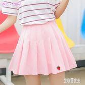 百褶裙女小清新夏新款高腰草莓百褶裙白短裙女粉色裙子半身裙學生CC971【艾菲爾女王】