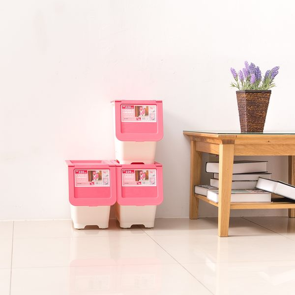 收納箱/置物箱/衣物箱 大口式繽紛雙色[3入] 浪漫粉_小型收納箱  dayneeds