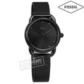 FOSSIL / ES4489 / 典雅 極簡主義 礦石強化玻璃 日本機芯 米蘭編織不鏽鋼手錶 鍍黑 26mm