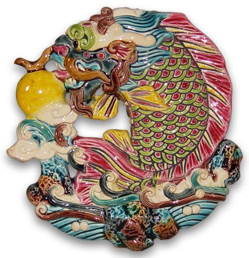 鹿港窯-交趾陶居家開運裝飾壁飾~S獨佔鰲頭/鯉躍龍門