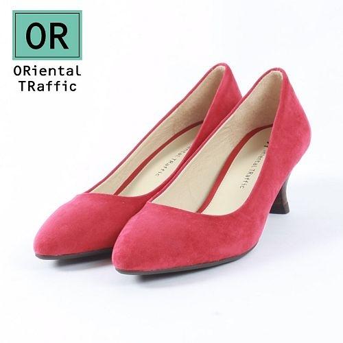 【ORiental TRaffic】極簡絨面尖楦中跟鞋-大方紅