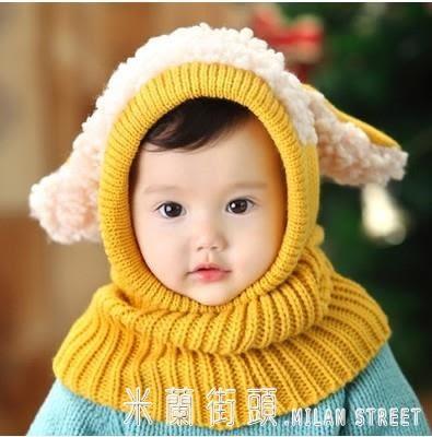 兒童圍巾 秋冬兒童套脖圍脖毛線男女寶寶嬰兒保暖披肩韓版耳朵連體圍巾帽子 米蘭街頭