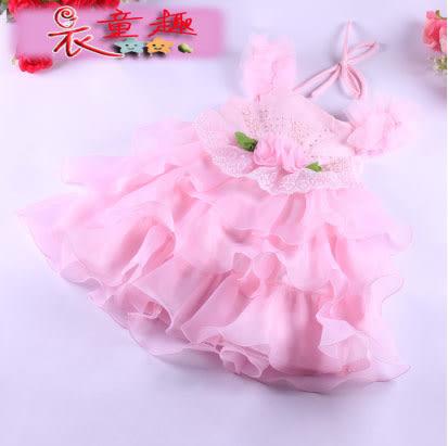 衣童趣 ♥韓版 女童 公主裙 表演 正式場合必備 洋裝 花童 玫瑰花 紡紗連身裙 兩色