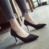 新款尖頭性感格紋細跟高跟鞋