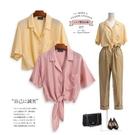 夏季法式V領短袖繫帶真絲襯衫 海島度假風短款桑蠶絲襯衣女外批 陽光好物