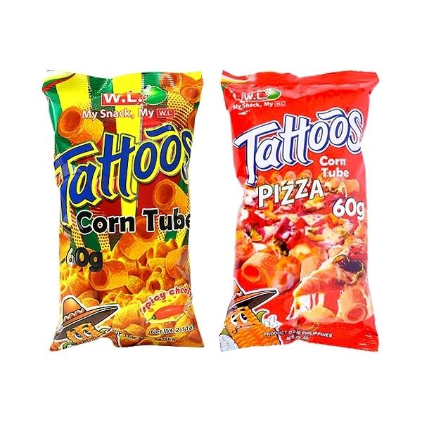 菲律賓 WL FOODS Tattoos玉米脆片/玉米捲(60g) 款式可選【小三美日】