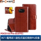 【默肯國際】IN7瘋馬紋 POCO X3 Pro (6.67吋) 錢包式 磁扣側掀PU皮套 吊飾孔 手機皮套保護殼