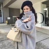 費爾島毛衣女2019秋冬季新款寬鬆百搭外套古著慵懶風高領網紅套頭