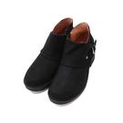【南紡購物中心】WALKING ZONE(女)造型釦帶真皮低跟短靴 女鞋-黑(另有灰咖)