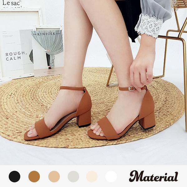跟鞋 一字帶方頭涼跟鞋 MA女鞋 T51803
