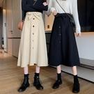半身裙 秋季新款韓版中長款百搭繫帶大擺裙子顯瘦高腰A字女潮 - 古梵希