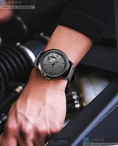MASERATI瑪莎拉蒂男錶44mm, 46mm黑色, 雙面機械鏤空錶面深黑色錶帶