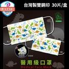 (台灣製雙鋼印) 豐荷 荷康 恐龍樂園 成人/兒童醫用口罩 (30入/盒) 滿2盒送口罩收納夾+梳鏡組